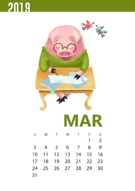 Kalenders illustratie van grappig varken voor maart 2019 Premium Vector