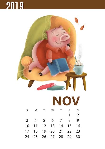 Kalenders illustratie van grappig varken voor november 2019 Premium Vector