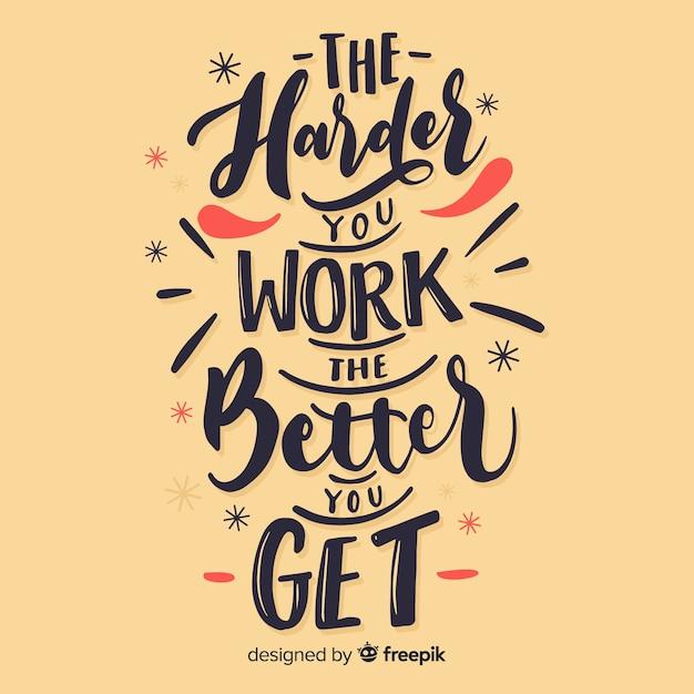 Kalligrafische achtergrond van een motiverende citaat Gratis Vector