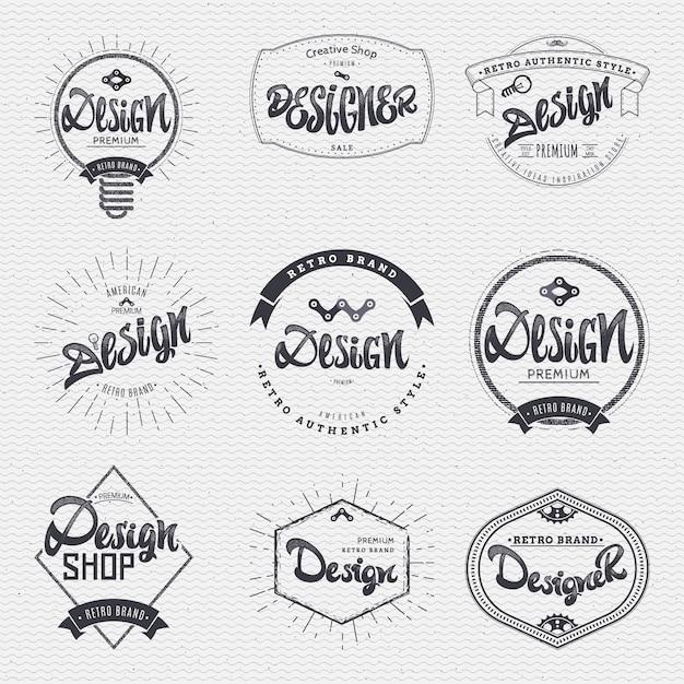Kalligrafische badge set Premium Vector