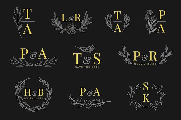 Kalligrafische bruiloft monogram logo's Gratis Vector