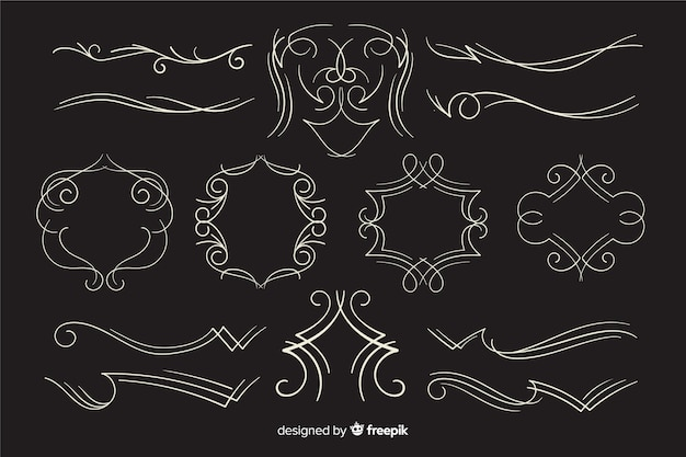 Kalligrafische bruiloft sieraad collectie op zwarte achtergrond Premium Vector