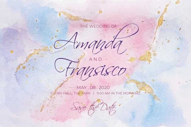 Kalligrafische bruiloft uitnodiging met aquarel vlekken Gratis Vector
