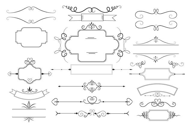 Kalligrafische decoratieve elementenset Gratis Vector