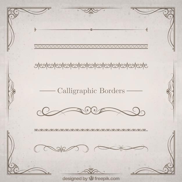 Kalligrafische grenzen Premium Vector
