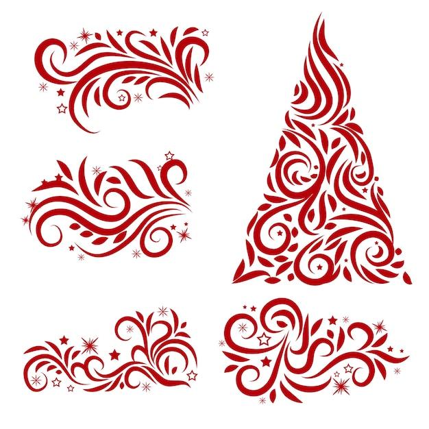 Kalligrafische kerstdecoratie Gratis Vector