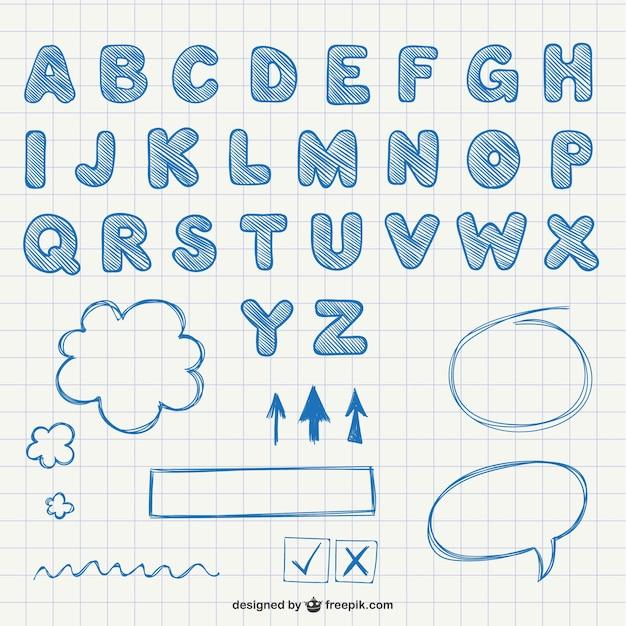 Kalligrafische letters van het alfabet Gratis Vector