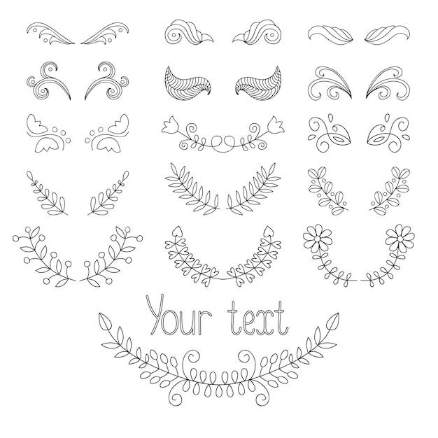 Kalligrafische ontwerpelementen en pagina-decoratie instellen met lauweren, kransen enz. Premium Vector
