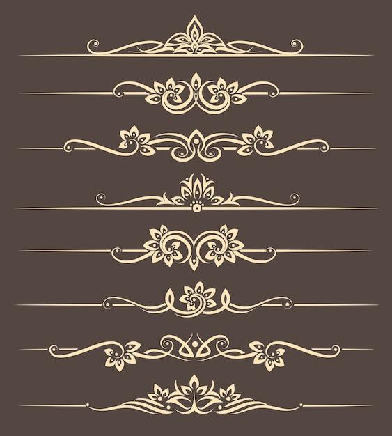 Kalligrafische ontwerpelementen, paginaverdelers met thais ornament. divider ornament pagina, sierlijke vector illustratie Gratis Vector