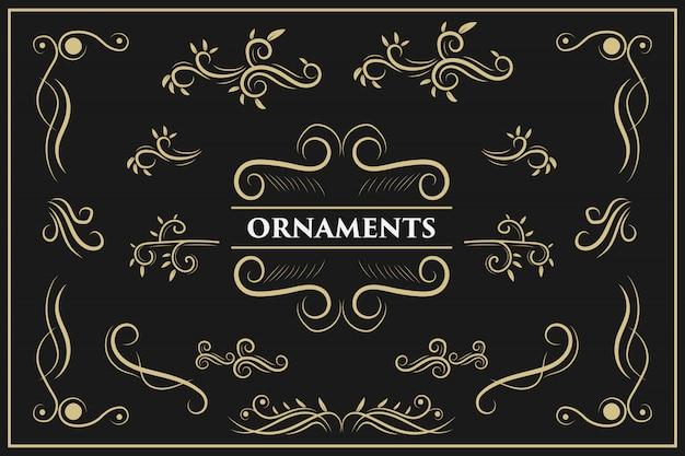 Kalligrafische ontwerpelementen vintage ornament wervelt en scrollt sierlijke decoraties ontwerpelementen Premium Vector