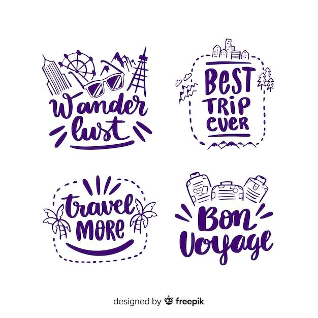Kalligrafische reis-badge collectie Gratis Vector