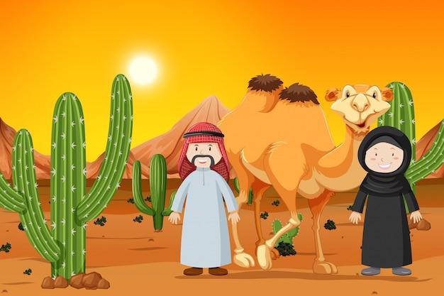 Kameel en twee moslimmensen Premium Vector