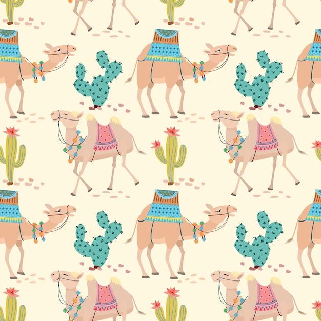 Kameel in de woestijn met cactus naadloze patroon. Premium Vector