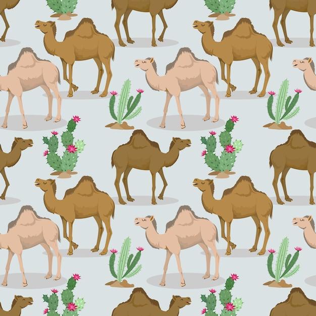 Kamelen en cactus in het woestijnpatroon. Premium Vector