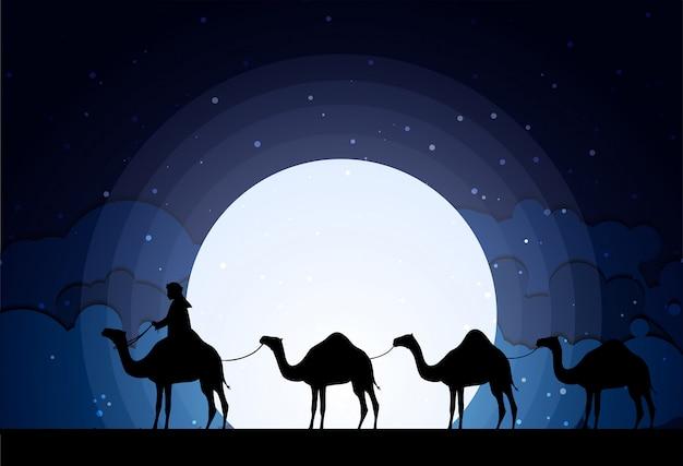 Kamelen in de nacht van de woestijnnacht Premium Vector