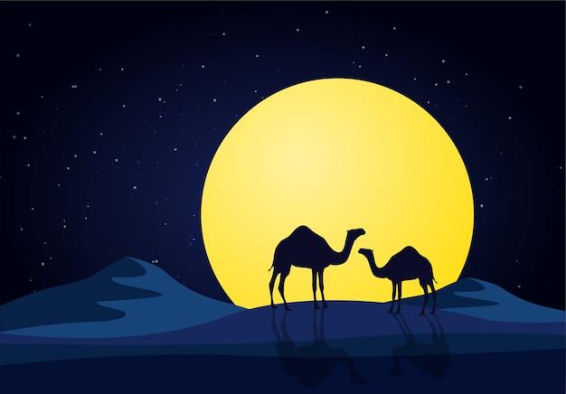 Kamelen in de woestijnnacht, maan Premium Vector