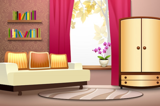 Kamer cartoon interieur Gratis Vector