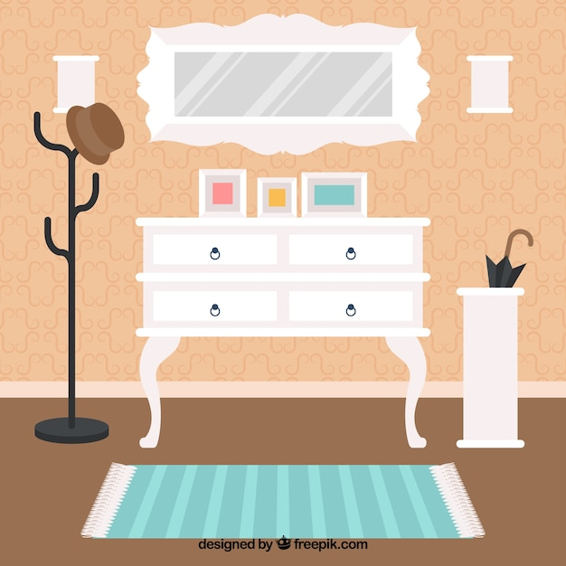 Kamer interieur met leuke meubels vector gratis download for Kamer interieur