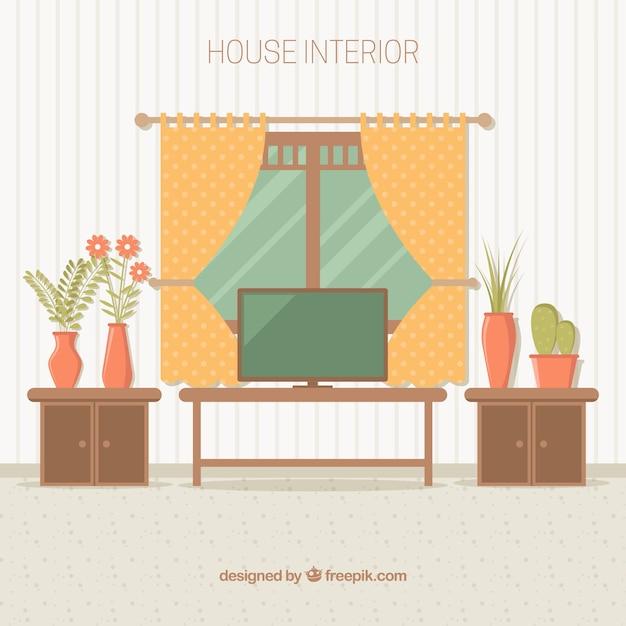 kamer interieur met mooie gordijnen en meubels gratis vector