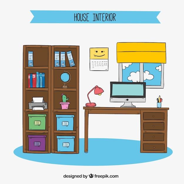 Kamer met een bureau en een boekenkast hand getekende Vector ...