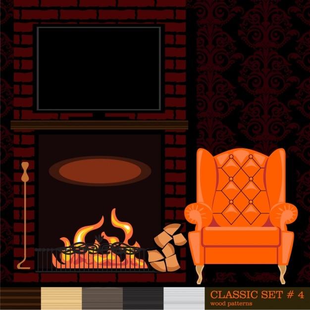 Gratis 2 Fauteuils.Kamer Met Een Oranje Fauteuil Vector Gratis Download