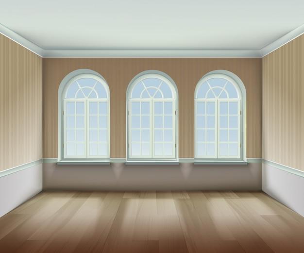 Kamer met gebogen windows-achtergrond Gratis Vector