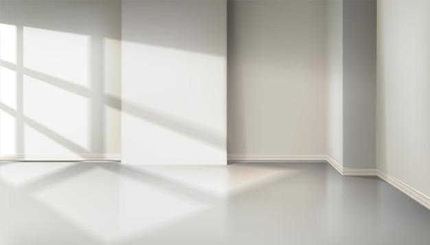 Kamer met licht vanuit het raam. natuurlijk schaduweffect van raam van jaloezie. Premium Vector