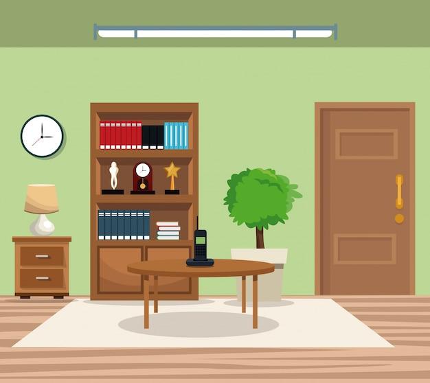 kamer pot boom boekenkast klok lamp tafel telefoondeur tapijt premium vector