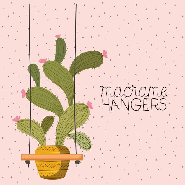 Kamerplant in macrame hangers Premium Vector