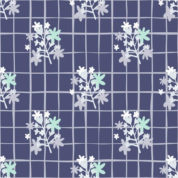 Kamille bloemen abstract boeket naadloze patten in blauwe tinten Premium Vector