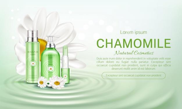 Kamille eco cosmetica flessen banner Gratis Vector