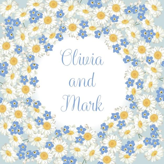 Kamille en vergeet me-niet-patroon op blauwe achtergrond. daisy veld. rond frame Premium Vector