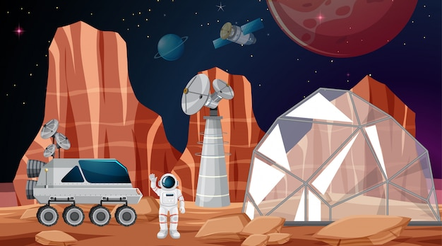 Kamp in ruimtescène Gratis Vector