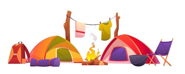 Kampeer- en wandeluitrusting, tenten en gereedschapset Gratis Vector