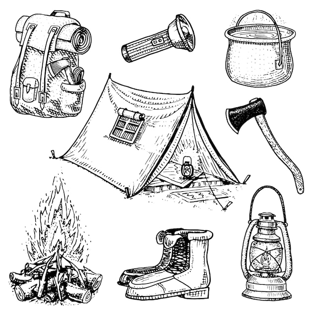 Kampeertrip, buitenavontuur, wandelen. set van toeristische uitrusting. gegraveerde hand getrokken in oude schets, vintage stijl voor label. rugzak en lantaarn, tent en steelpan, bijl en laarzen, lantaarn en vuur. Premium Vector