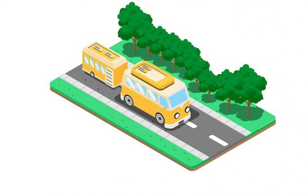 Kampeerwagens en caravans Premium Vector