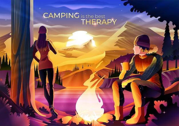 Kamperen is de beste illustratie van het therapieconcept Premium Vector
