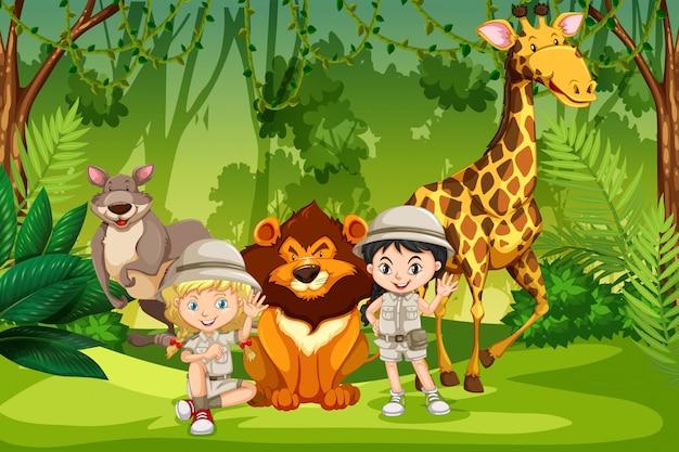 Kamperen kinderen in het bos Premium Vector