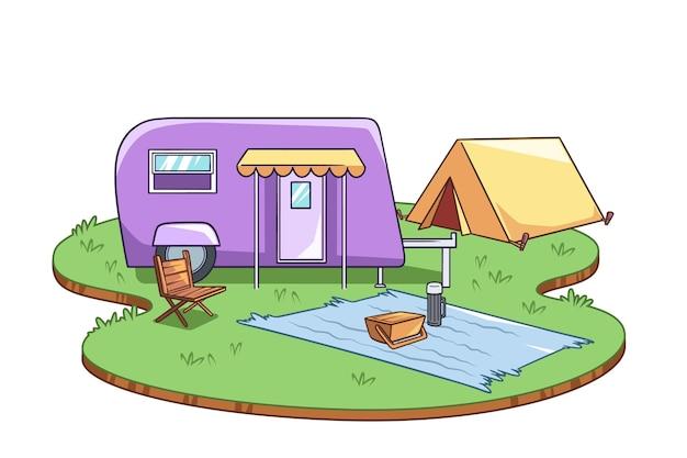 Kamperen met een caravan Gratis Vector