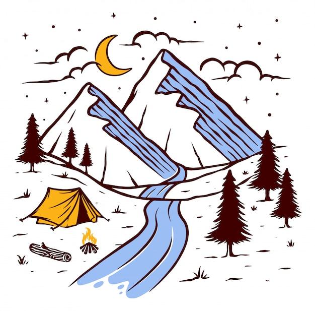 Kamperen op de berg bij nacht illustratie Premium Vector