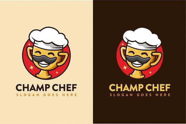 Kampioen chef-kok cartoon logo Premium Vector