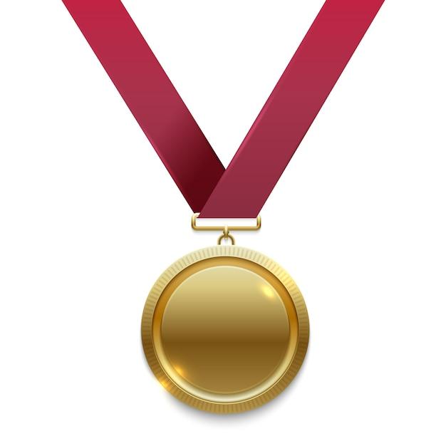 Kampioen gouden medaille op rood lint Premium Vector