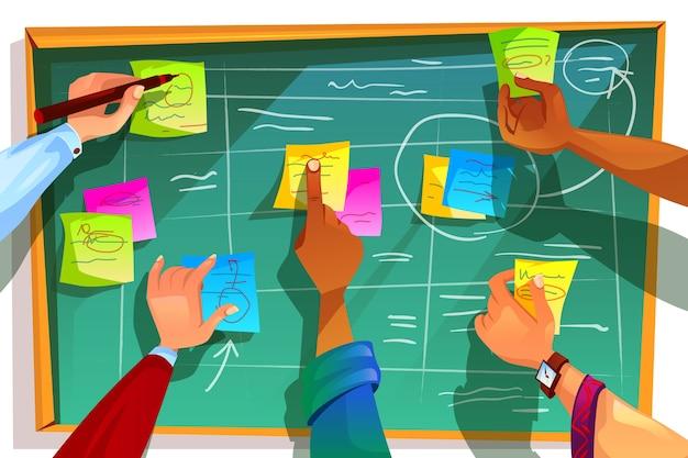 Kanban-bordillustratie voor behendig scrumbeheer en methodologie voor teamwerkprocessen. Gratis Vector