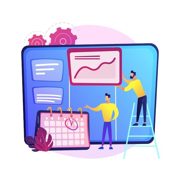 Kanbanbord met takenlijsten. methode voor taak- en tijdbeheer. projectproces, workflowoptimalisatie, organisatie. kpi-prestatie-efficiëntie. Gratis Vector
