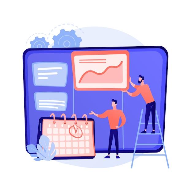 Kanbanbord met takenlijsten. taak- en tijdmanagementmethode. projectproces, workflowoptimalisatie, organisatie. kpi prestatie efficiëntie concept illustratie Gratis Vector