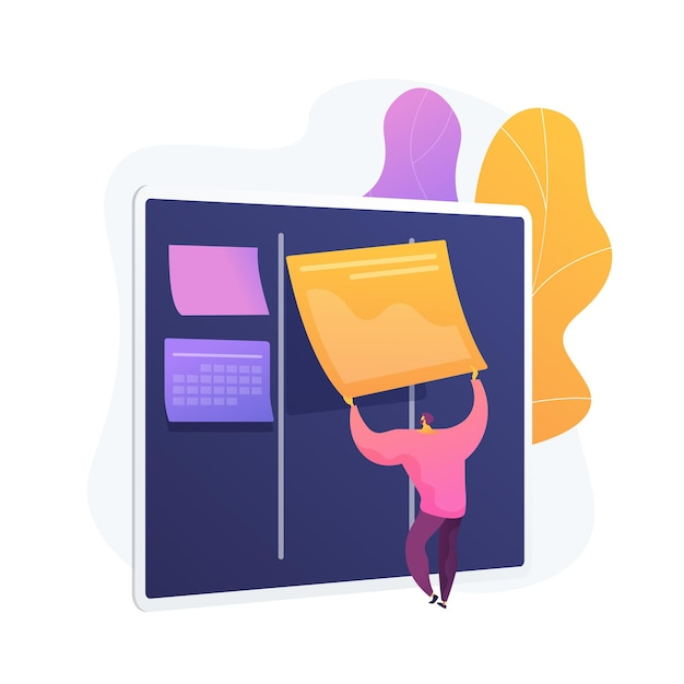 Kanbanbord met takenlijsten. taak- en tijdmanagementmethode. projectproces, workflowoptimalisatie, organisatie. kpi-prestatie-efficiëntie. Gratis Vector