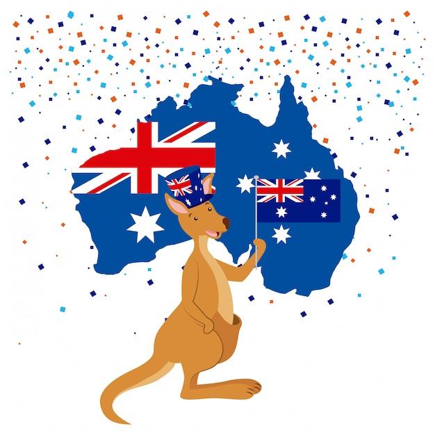 Kangoeroe met australië vlag en confetti Gratis Vector