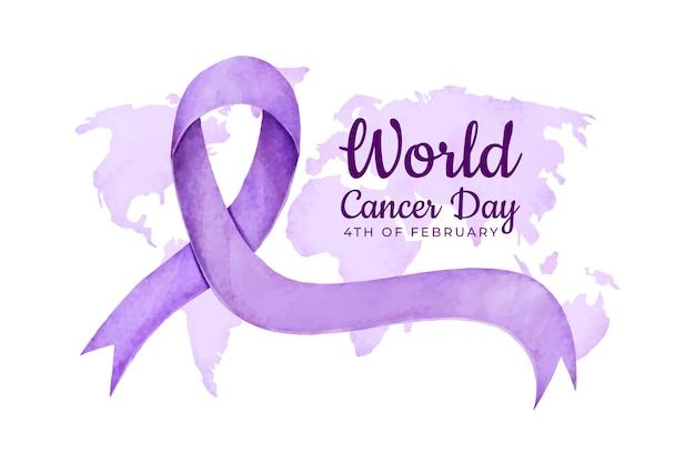Kanker dag lint in paarse aquarel Gratis Vector