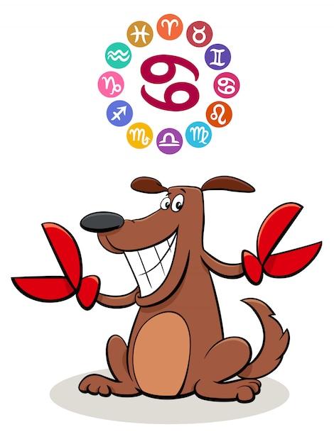 Kanker sterrenbeeld met cartoon hond Premium Vector
