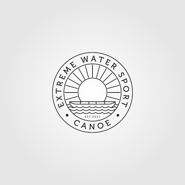 Kano logo lijntekeningen minimalistisch met sunburst vintage illustratie Premium Vector